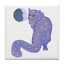Night Cat Tile Coaster
