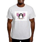 Pink Fairy Penguin Ash Grey T-Shirt