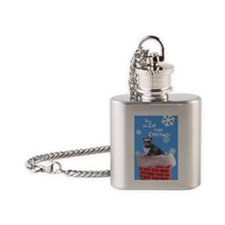 cat grinch card Flask Necklace