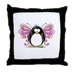 Pink Fairy Penguin Throw Pillow