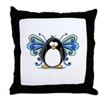 Blue Fairy Penguin Throw Pillow
