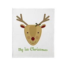 1st Christmas Reindeer Throw Blanket