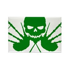 Floating Skull n Pipes Green Rectangle Magnet