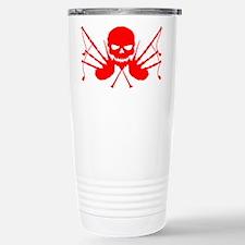 Floating Skull n Pipes Red Travel Mug