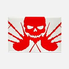 Floating Skull n Pipes Red Rectangle Magnet