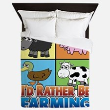 Id rather be farming! multiple Queen Duvet