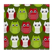 Retro Christmas Owls Tile Coaster