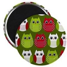 Retro Christmas Owls Magnet