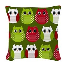Retro Christmas Owls Woven Throw Pillow