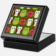 Retro Christmas Owls Keepsake Box