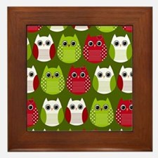 Retro Christmas Owls Framed Tile