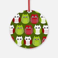 Retro Christmas Owls Round Ornament