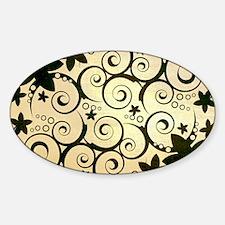 Flowers_ipad_case_brown_sw Sticker (Oval)