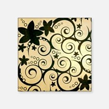 "flowers_brown_sq Square Sticker 3"" x 3"""