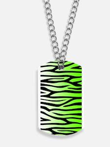 Lime Green Zebra Print Dog Tags