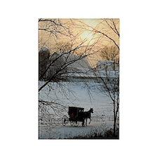 Winter Amish Sunset Rectangle Magnet
