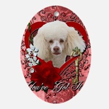 Valentine_Red_Rose_Poodle_White Oval Ornament