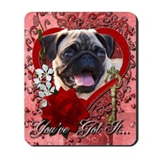 Valentine_Red_Rose_Pug Mousepad