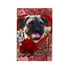 Valentine_Red_Rose_Pug Rectangle Magnet