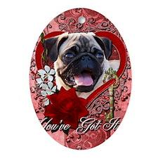 Valentine_Red_Rose_Pug Oval Ornament