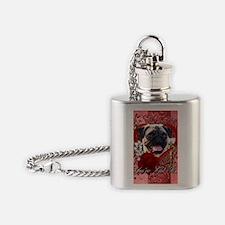 Valentine_Red_Rose_Pug Flask Necklace