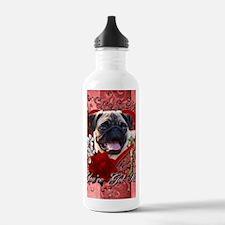 Valentine_Red_Rose_Pug Water Bottle