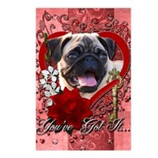 Valentine_Red_Rose_Pug Postcards (Package of 8)