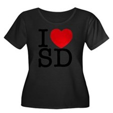 sd_v Women's Plus Size Dark Scoop Neck T-Shirt