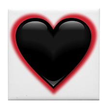 Black Glossy Heart Anti Valentine Tile Coaster