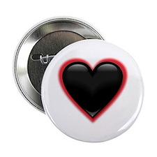 Black Glossy Heart Anti Valentine Button