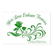 love endures dark green Postcards (Package of 8)