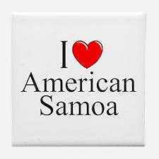 """I Love American Samoa"" Tile Coaster"