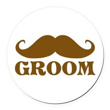Groom Mustache Round Car Magnet