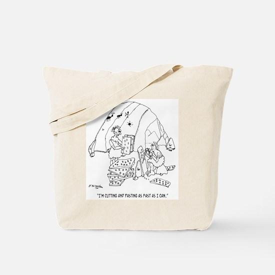 Caveman Cutting & Pasting Tote Bag