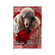 Valentine_Red_Rose_Poodle_Chocola Rectangle Magnet
