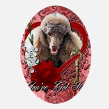 Valentine_Red_Rose_Poodle_Chocolate Oval Ornament