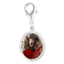 Valentine_Red_Rose_Poodle_Choco Silver Oval Charm