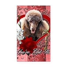 Valentine_Red_Rose_Poodle_Cho Rectangle Car Magnet