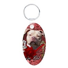Valentine_Red_Rose_Pitbull_ Aluminum Oval Keychain