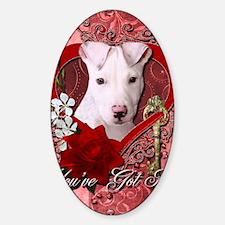 Valentine_Red_Rose_Pitbull_Petey Sticker (Oval)