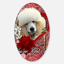 Valentine_Red_Rose_Poodle_Apricot Sticker (Oval)