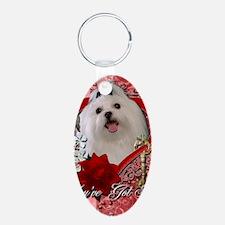 Valentine_Red_Rose_Maltese Keychains