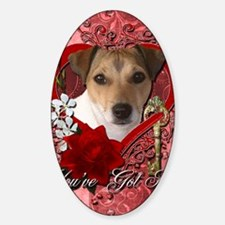 Valentine_Red_Rose_Jack_Russell Sticker (Oval)