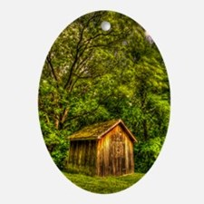 journal_wooden cabin Oval Ornament