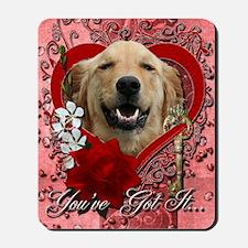 Valentine_Red_Rose_Golden_Retriever_Mick Mousepad
