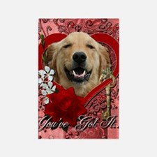 Valentine_Red_Rose_Golden_Retriev Rectangle Magnet