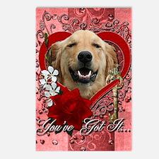 Valentine_Red_Rose_Golden Postcards (Package of 8)