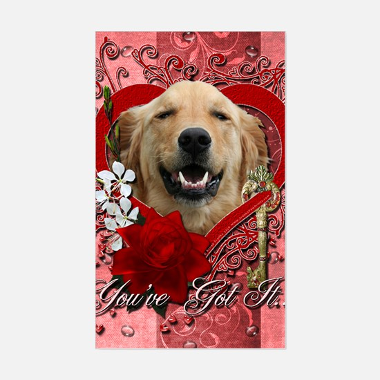 Valentine_Red_Rose_Golden_Retr Sticker (Rectangle)