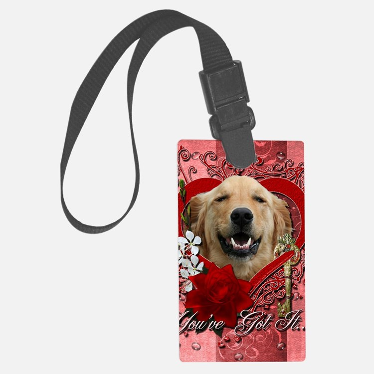 Valentine_Red_Rose_Golden_Retrie Luggage Tag