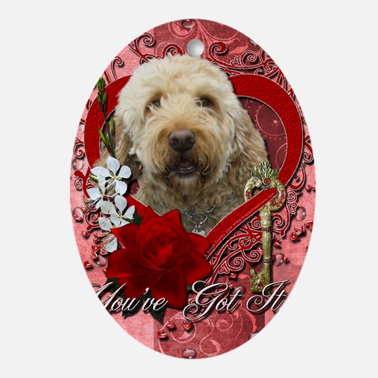 Valentine_Red_Rose_GoldenDoodle Oval Ornament